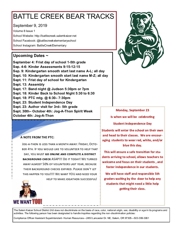Battle Creek Bear TreaksSeptember Newsletter