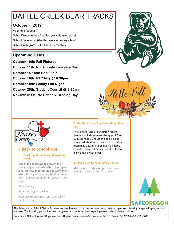 Battle Creek Bear Tracks for October 7, 2019